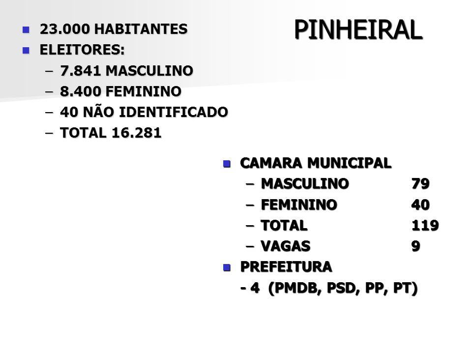 PINHEIRAL 23.000 HABITANTES ELEITORES: 7.841 MASCULINO 8.400 FEMININO