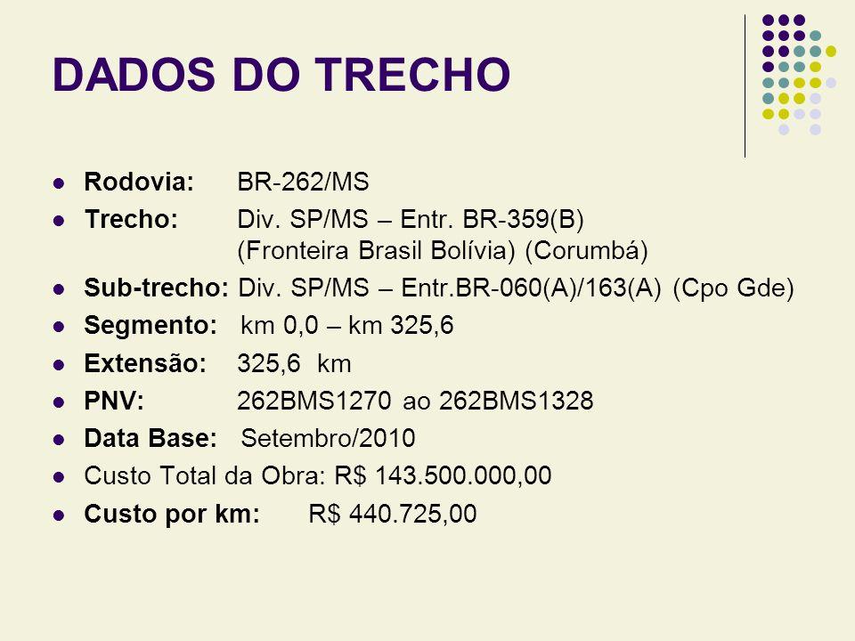 DADOS DO TRECHO Rodovia: BR-262/MS