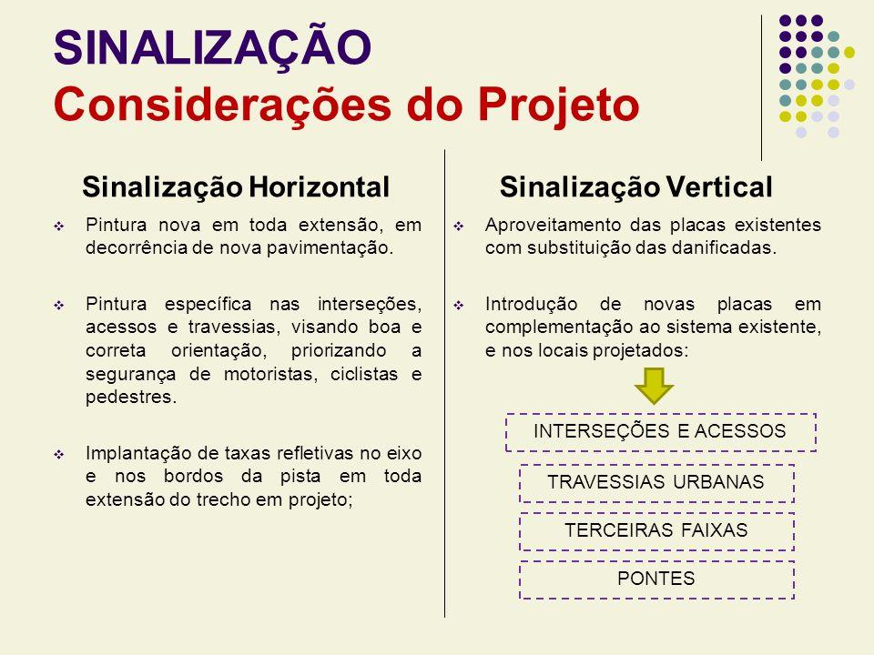 SINALIZAÇÃO Considerações do Projeto
