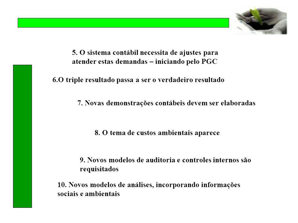 5. O sistema contábil necessita de ajustes para atender estas demandas – iniciando pelo PGC