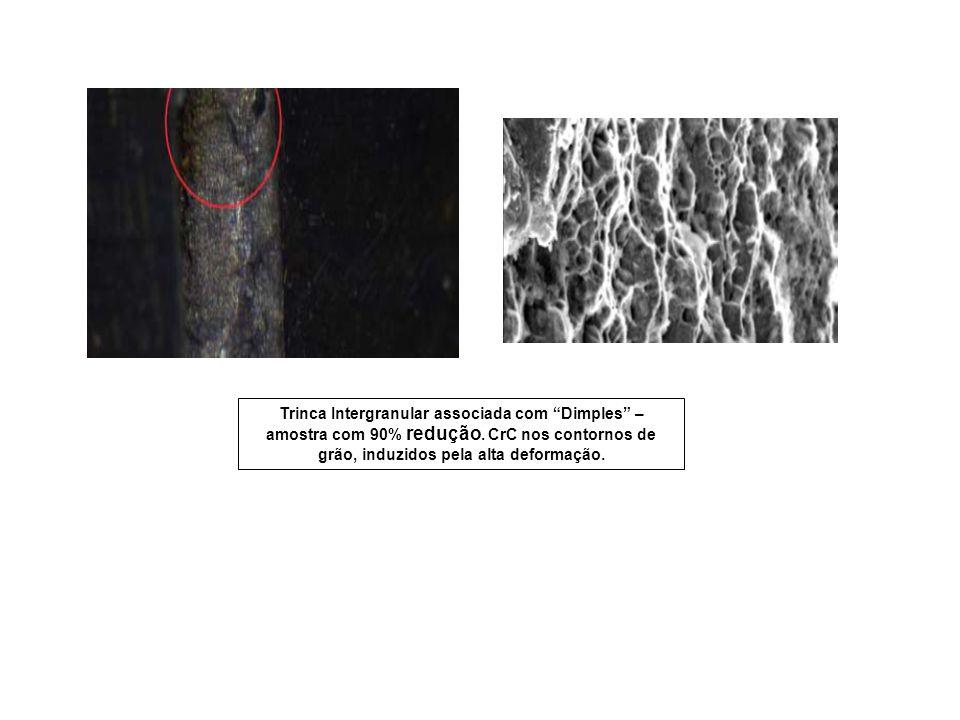 Trinca Intergranular associada com Dimples – amostra com 90% redução