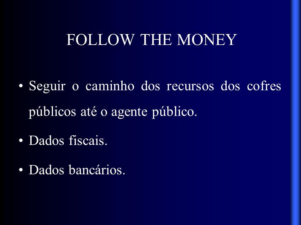 FOLLOW THE MONEYSeguir o caminho dos recursos dos cofres públicos até o agente público. Dados fiscais.