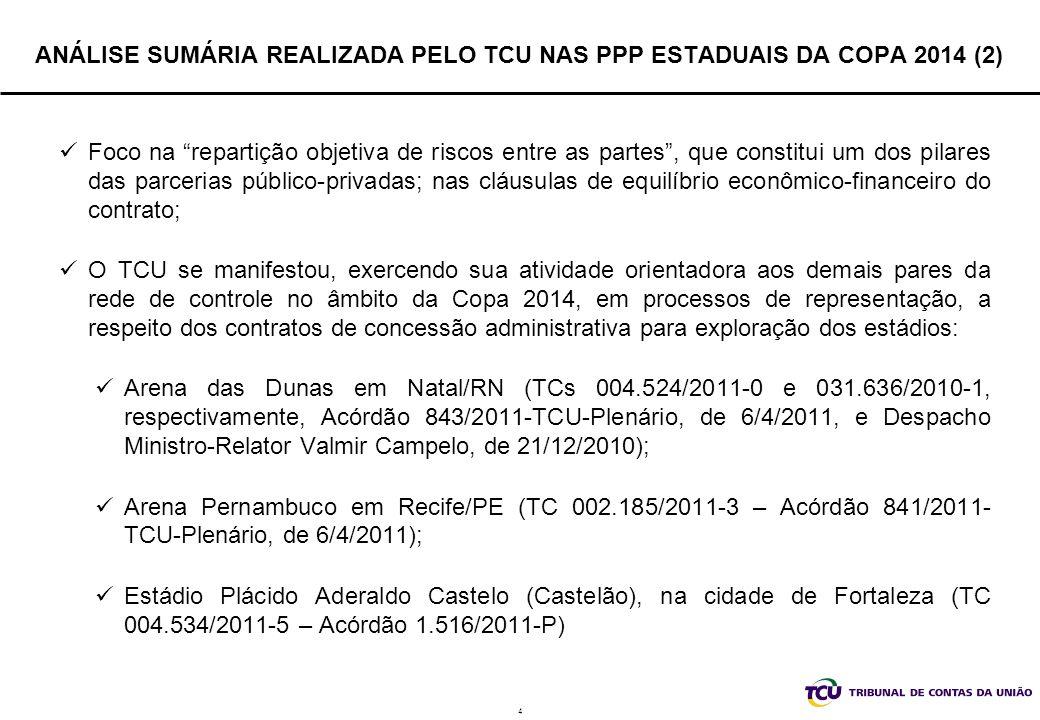 ANÁLISE SUMÁRIA REALIZADA PELO TCU NAS PPP ESTADUAIS DA COPA 2014 (2)