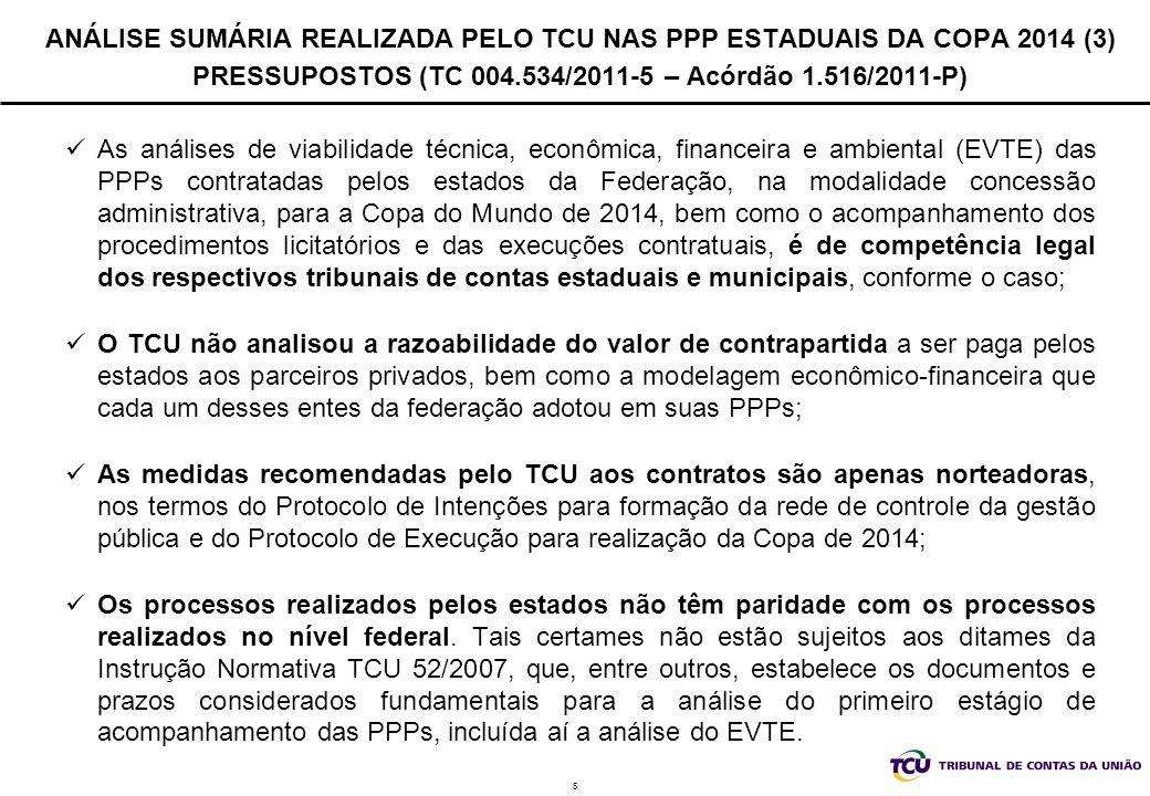 ANÁLISE SUMÁRIA REALIZADA PELO TCU NAS PPP ESTADUAIS DA COPA 2014 (3) PRESSUPOSTOS (TC 004.534/2011-5 – Acórdão 1.516/2011-P)