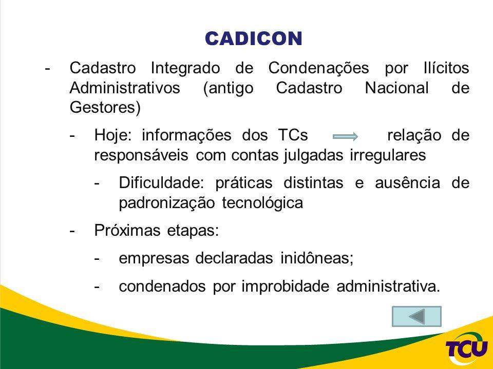 CADICON Cadastro Integrado de Condenações por Ilícitos Administrativos (antigo Cadastro Nacional de Gestores)