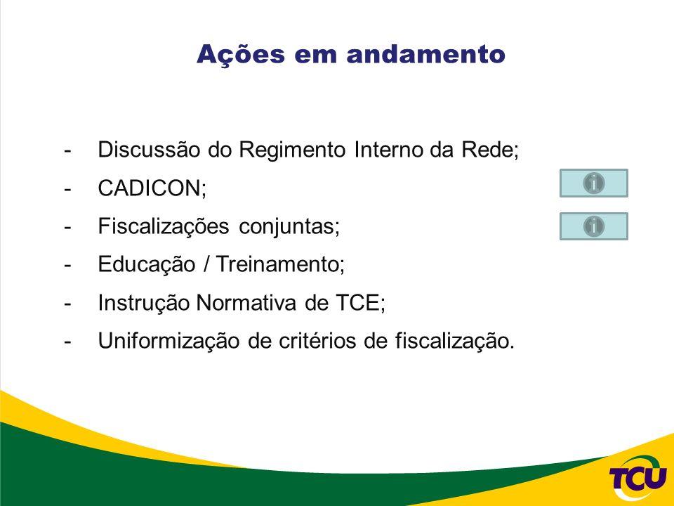 Ações em andamento Discussão do Regimento Interno da Rede; CADICON;