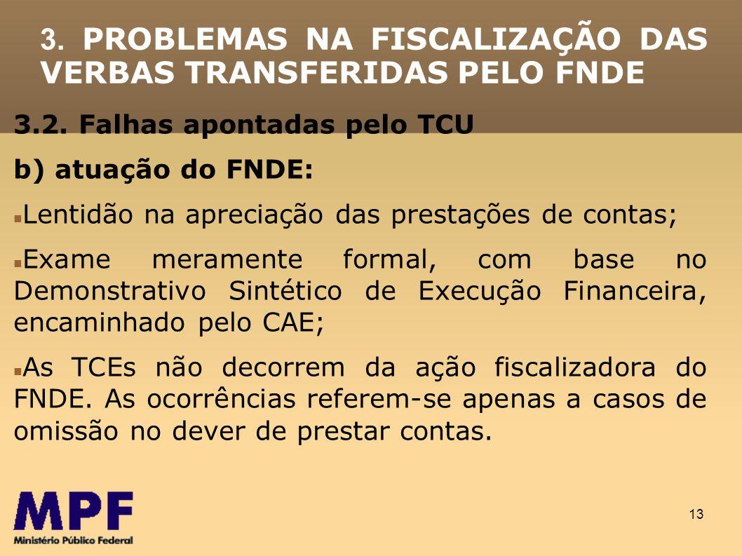 3. PROBLEMAS NA FISCALIZAÇÃO DAS VERBAS TRANSFERIDAS PELO FNDE