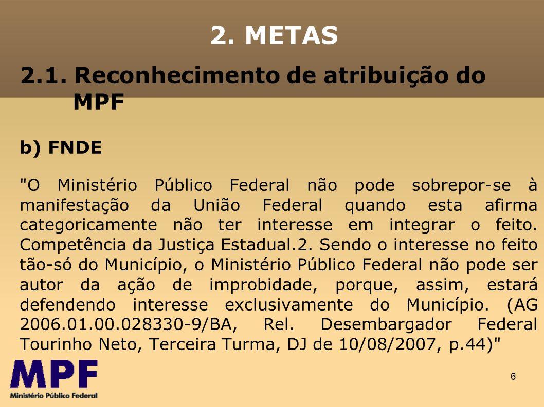 2. METAS 2.1. Reconhecimento de atribuição do MPF b) FNDE