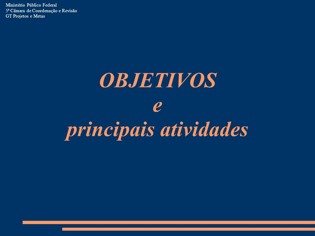 OBJETIVOS e principais atividades