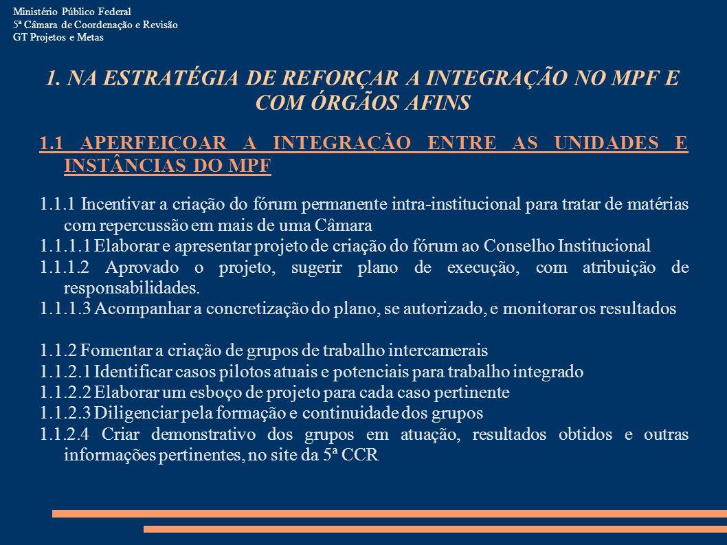 1. NA ESTRATÉGIA DE REFORÇAR A INTEGRAÇÃO NO MPF E COM ÓRGÃOS AFINS