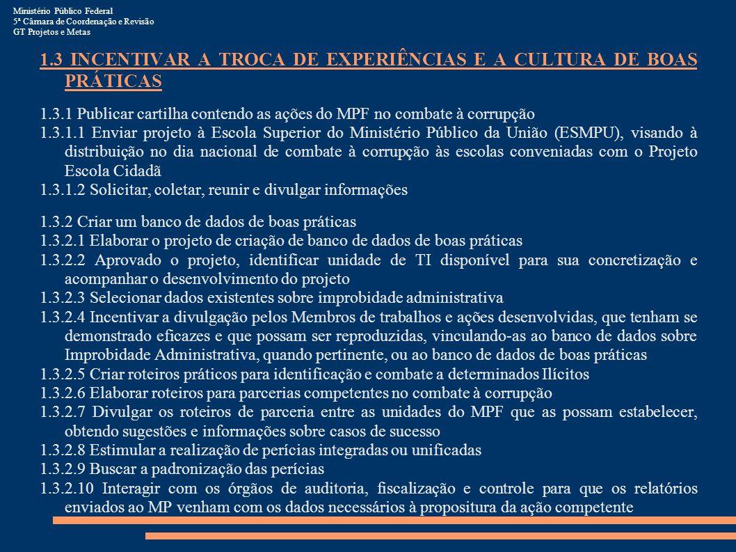 1.3 INCENTIVAR A TROCA DE EXPERIÊNCIAS E A CULTURA DE BOAS PRÁTICAS