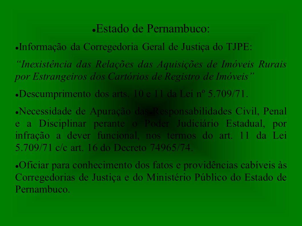 Estado de Pernambuco: Informação da Corregedoria Geral de Justiça do TJPE: