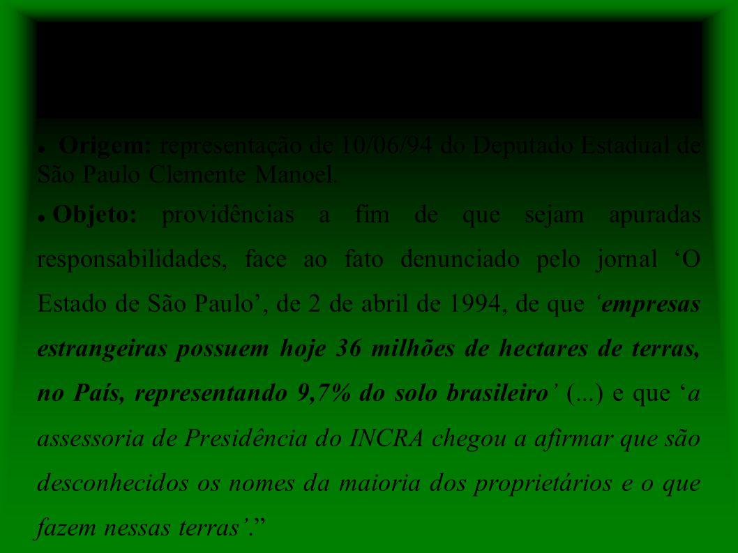 PA-PR/DF. 08100.003182/94-53 Origem: representação de 10/06/94 do Deputado Estadual de São Paulo Clemente Manoel.