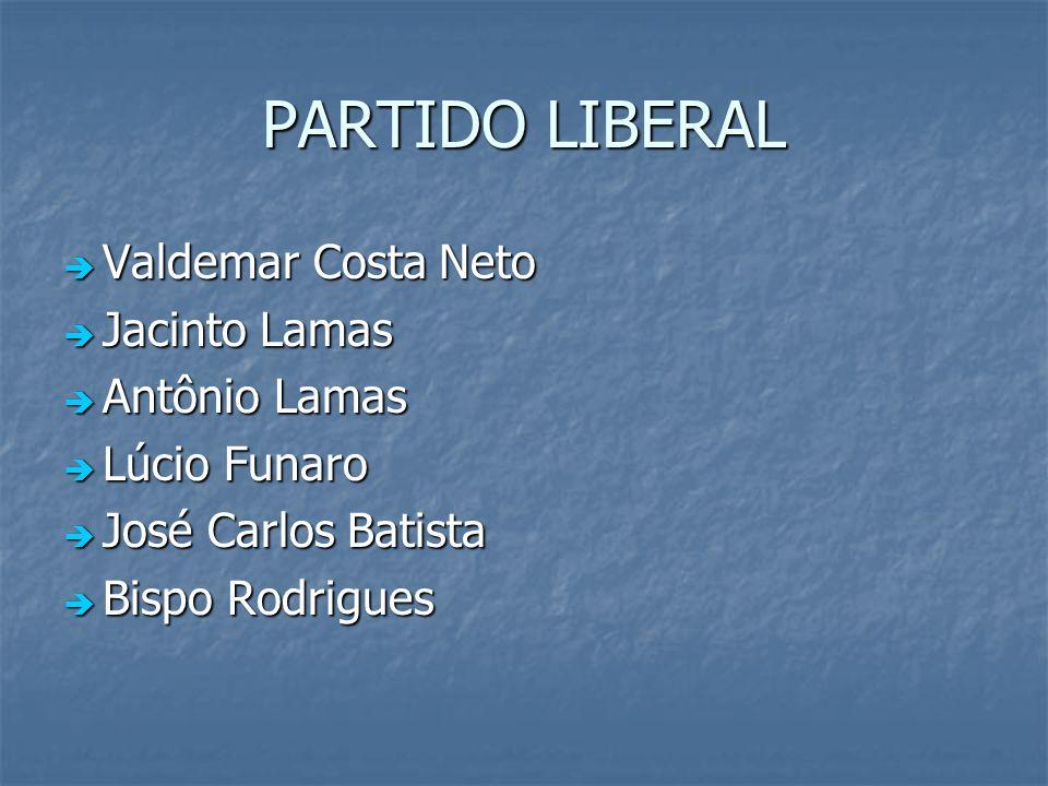 PARTIDO LIBERAL Valdemar Costa Neto Jacinto Lamas Antônio Lamas