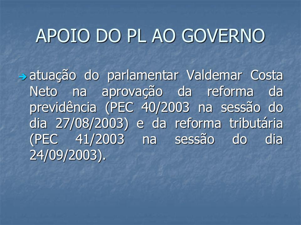 APOIO DO PL AO GOVERNO