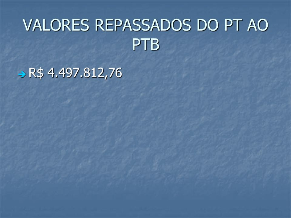 VALORES REPASSADOS DO PT AO PTB