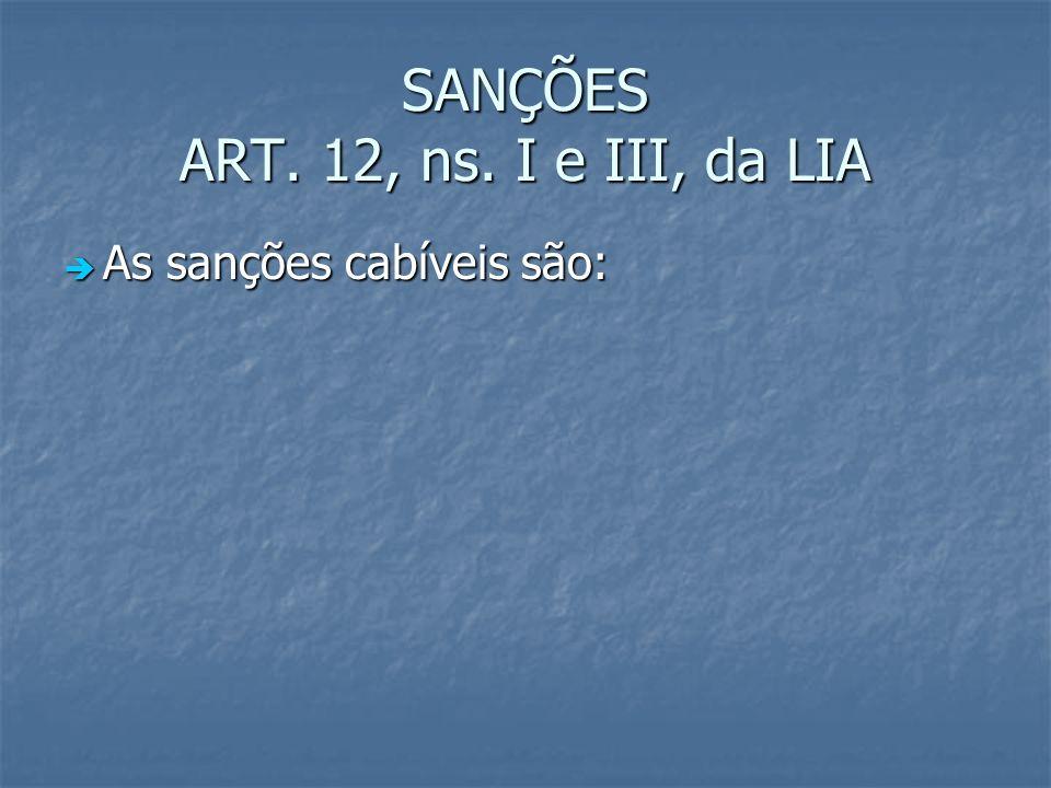 SANÇÕES ART. 12, ns. I e III, da LIA