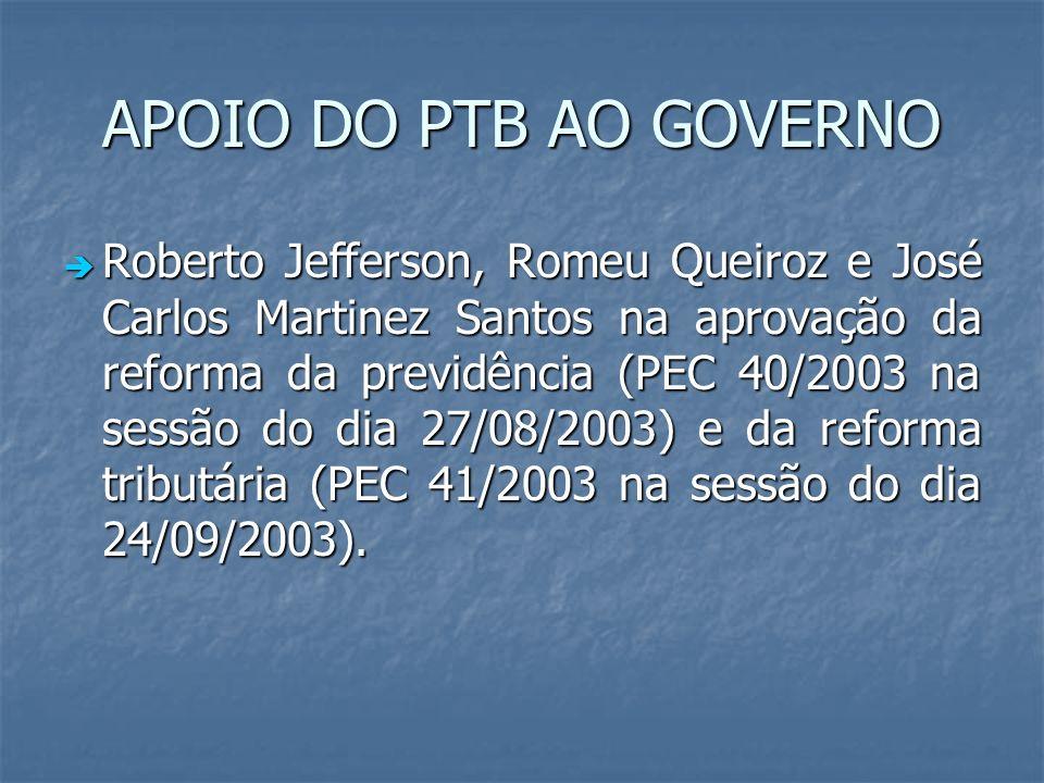APOIO DO PTB AO GOVERNO