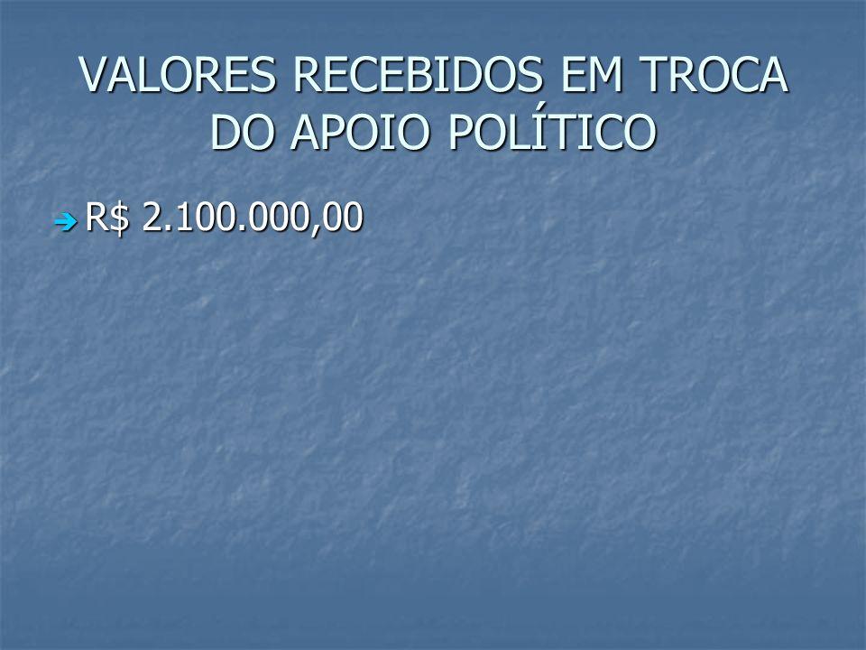 VALORES RECEBIDOS EM TROCA DO APOIO POLÍTICO