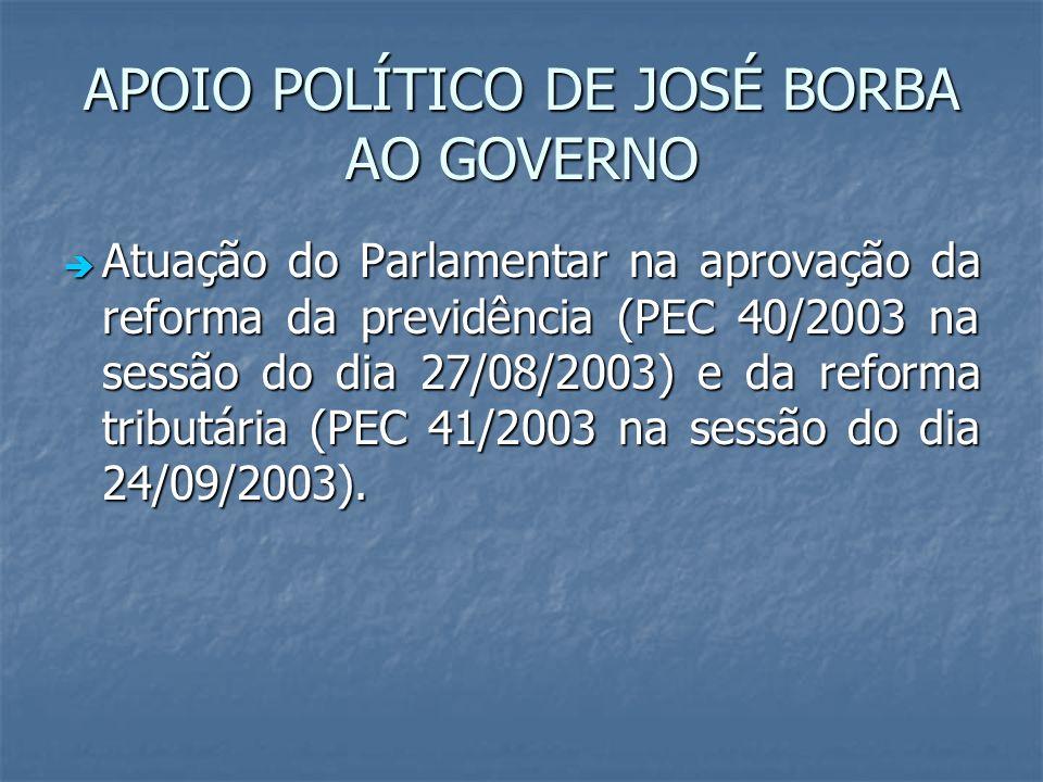 APOIO POLÍTICO DE JOSÉ BORBA AO GOVERNO