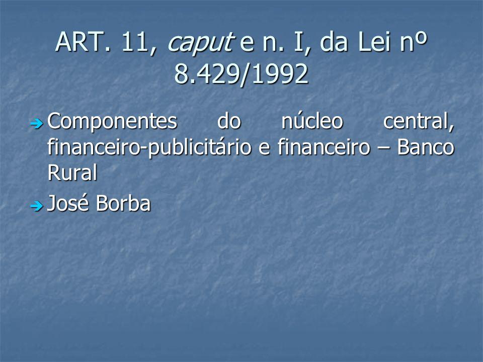 ART. 11, caput e n. I, da Lei nº 8.429/1992 Componentes do núcleo central, financeiro-publicitário e financeiro – Banco Rural.