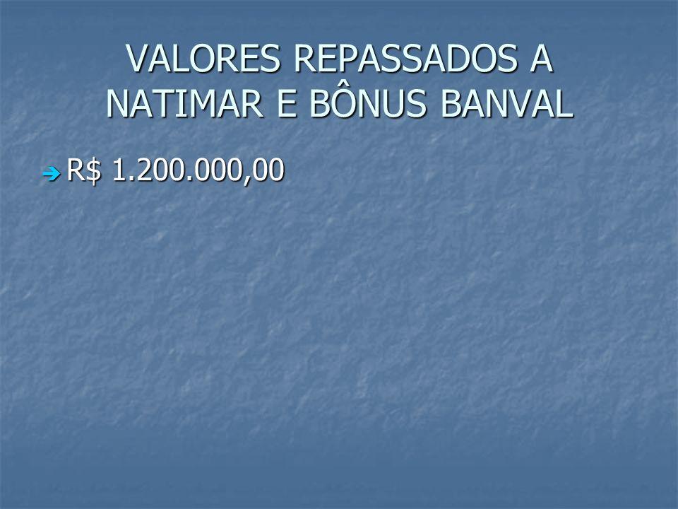 VALORES REPASSADOS A NATIMAR E BÔNUS BANVAL