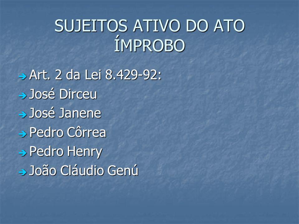 SUJEITOS ATIVO DO ATO ÍMPROBO