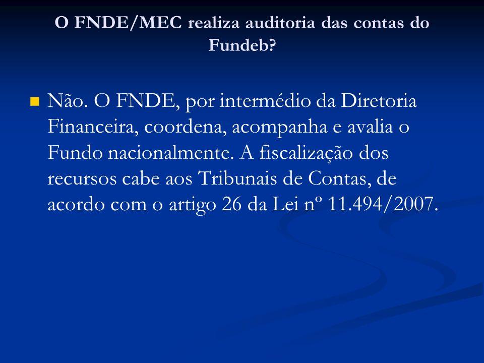 O FNDE/MEC realiza auditoria das contas do Fundeb
