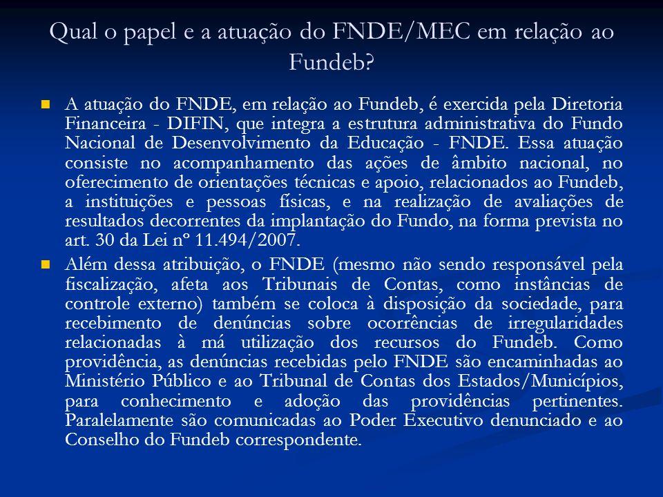 Qual o papel e a atuação do FNDE/MEC em relação ao Fundeb