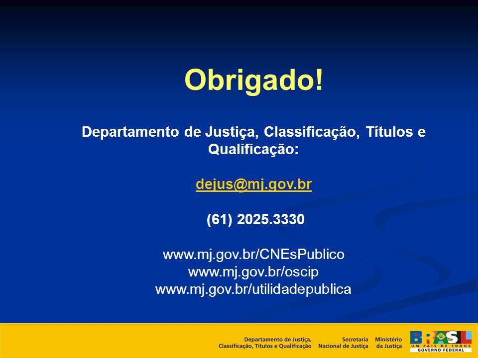 Departamento de Justiça, Classificação, Títulos e Qualificação: