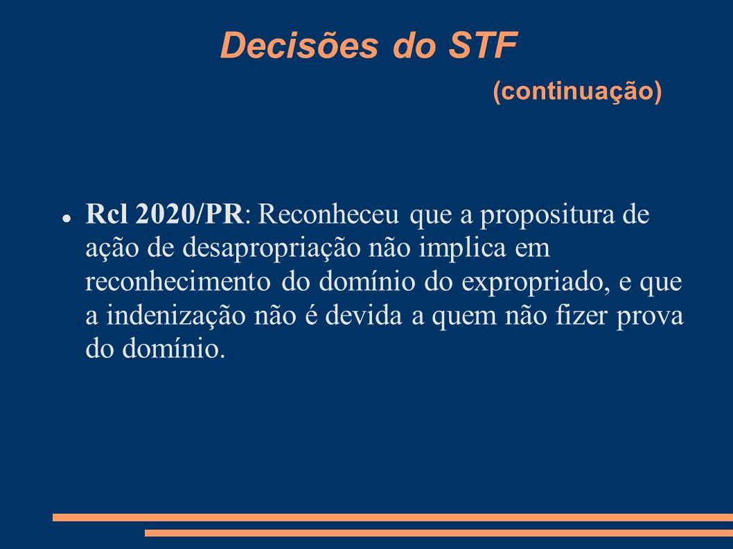 Decisões do STF (continuação)