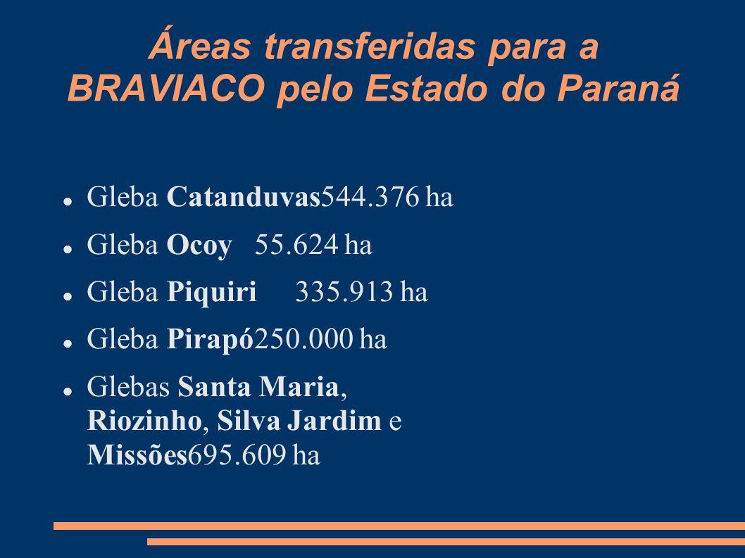 Áreas transferidas para a BRAVIACO pelo Estado do Paraná