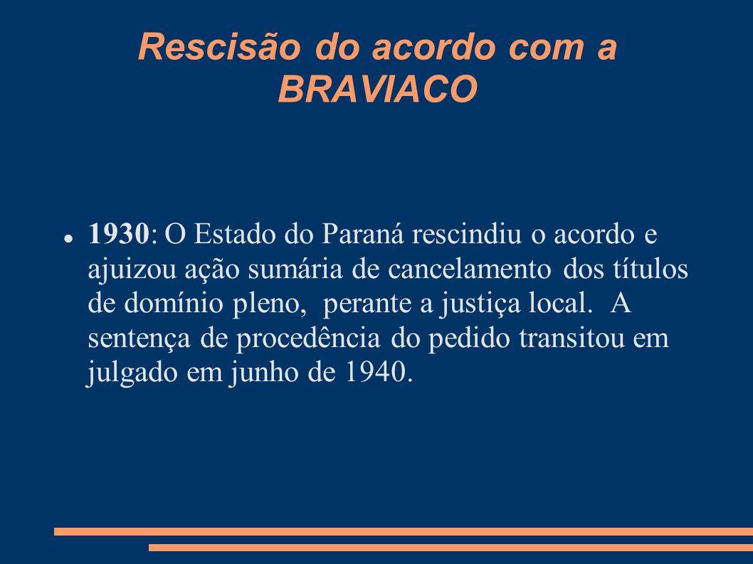 Rescisão do acordo com a BRAVIACO