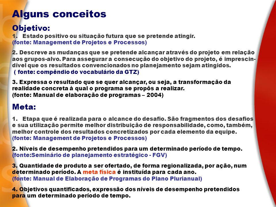 Alguns conceitos Objetivo: Meta:
