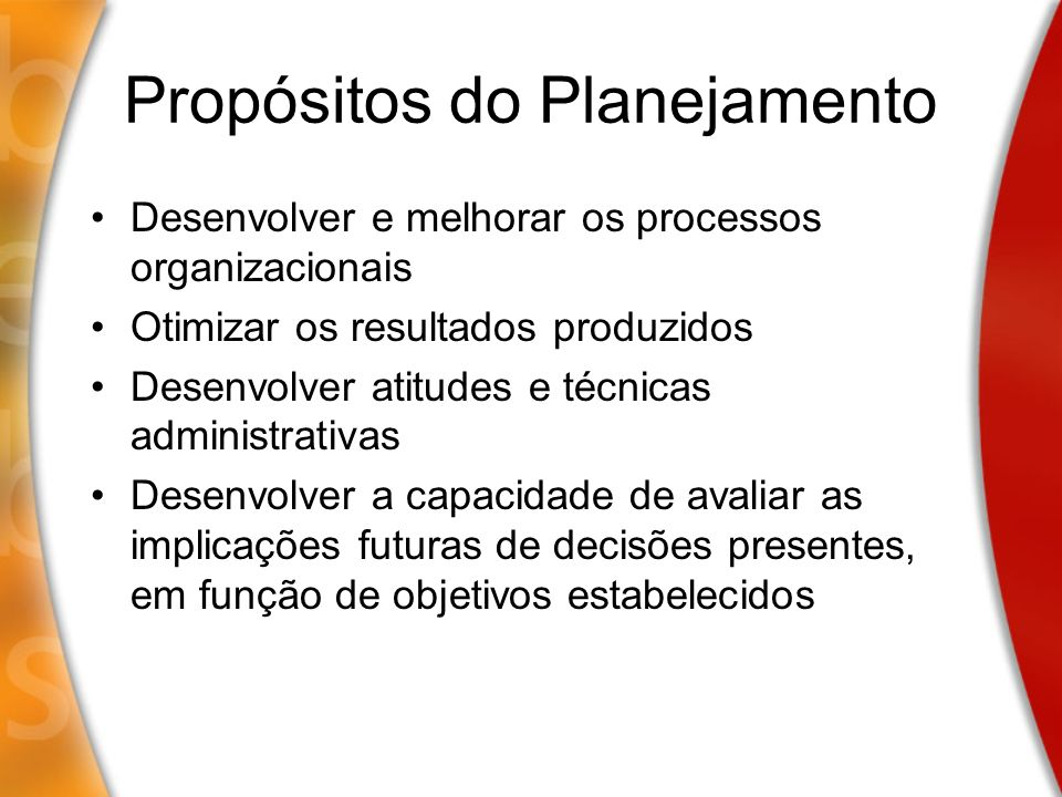 Propósitos do Planejamento