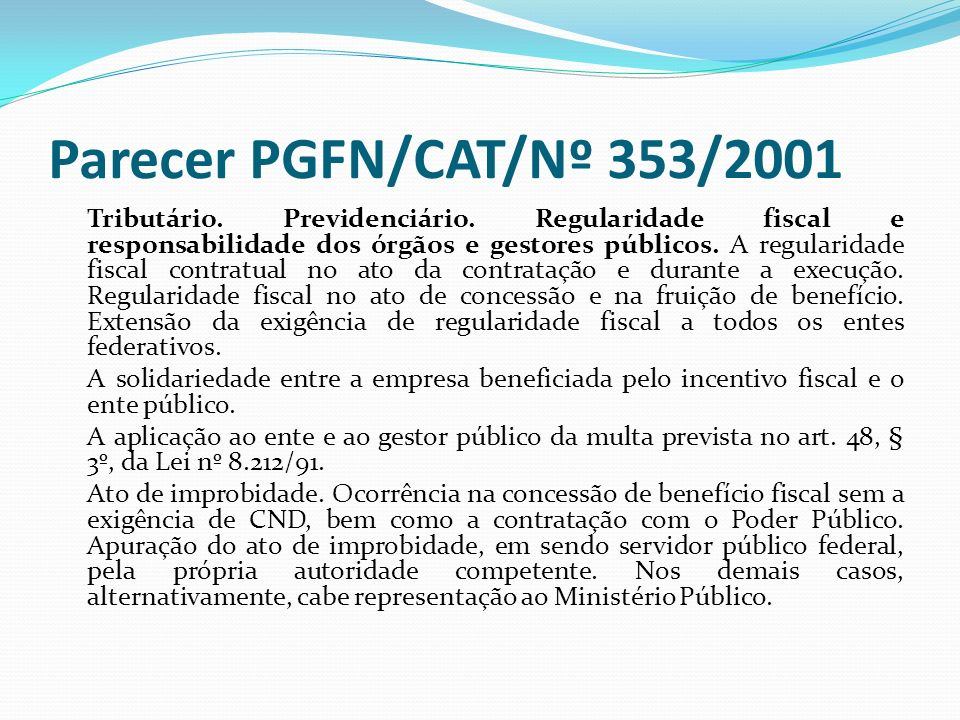 Parecer PGFN/CAT/Nº 353/2001