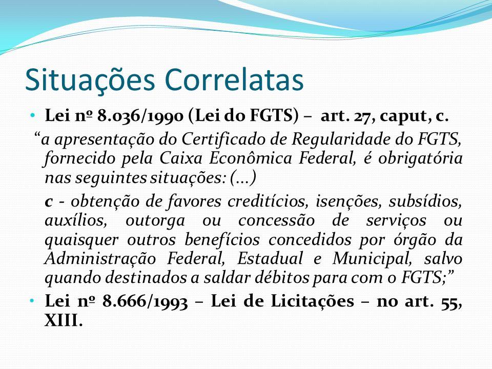 Situações Correlatas Lei nº 8.036/1990 (Lei do FGTS) – art. 27, caput, c.