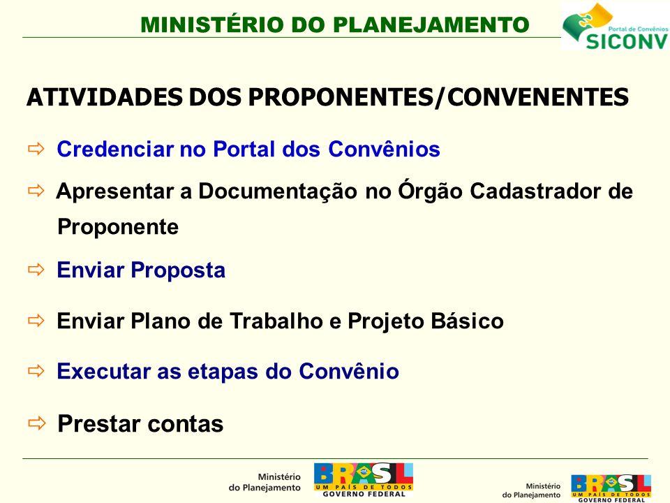 ATIVIDADES DOS PROPONENTES/CONVENENTES