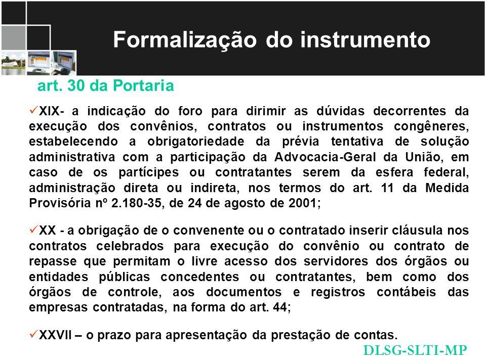 Formalização do instrumento
