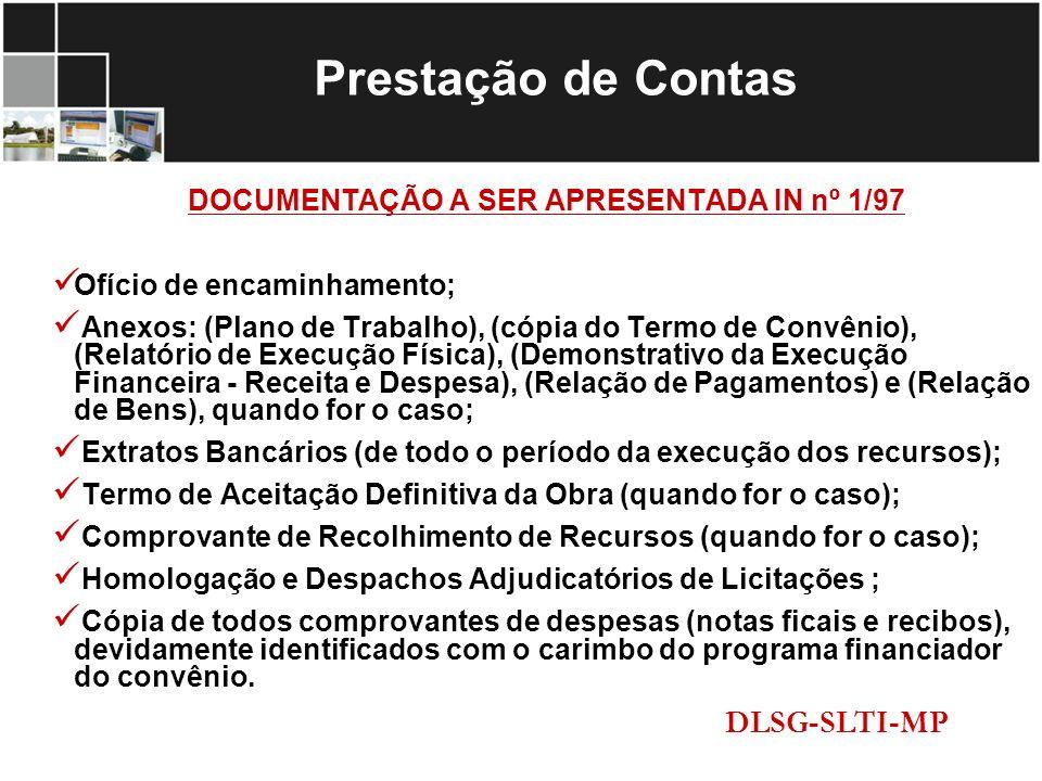 DOCUMENTAÇÃO A SER APRESENTADA IN nº 1/97