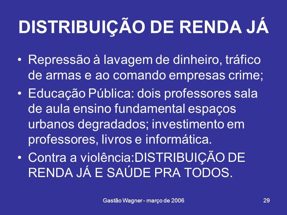DISTRIBUIÇÃO DE RENDA JÁ