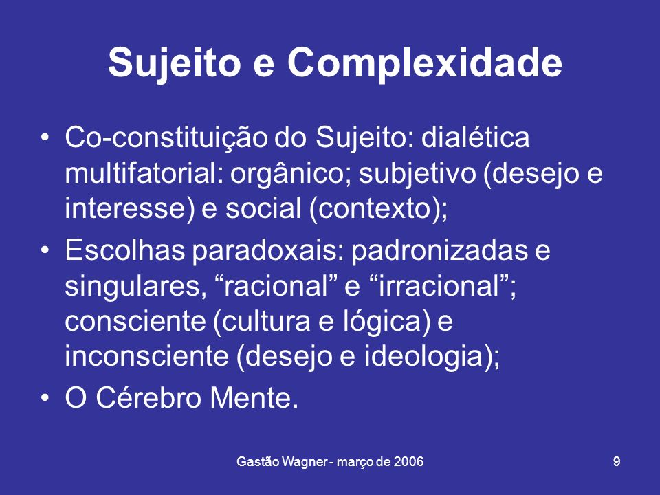 Sujeito e Complexidade