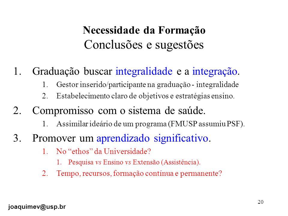 Necessidade da Formação Conclusões e sugestões