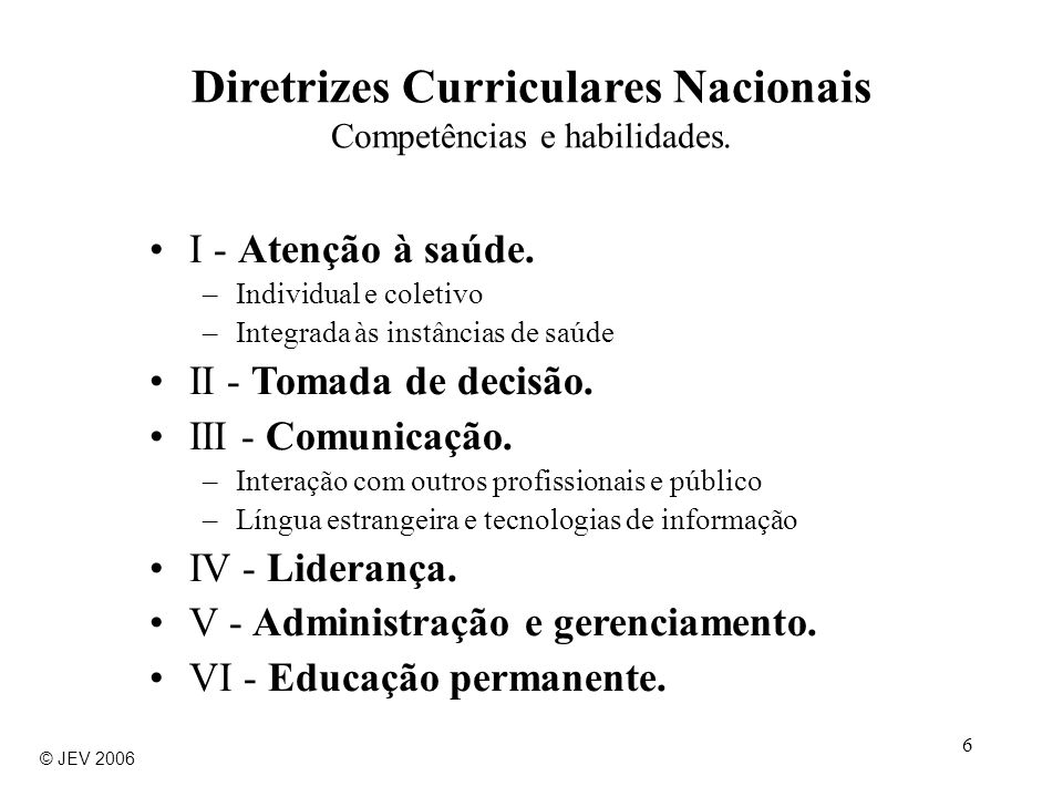 Diretrizes Curriculares Nacionais Competências e habilidades.