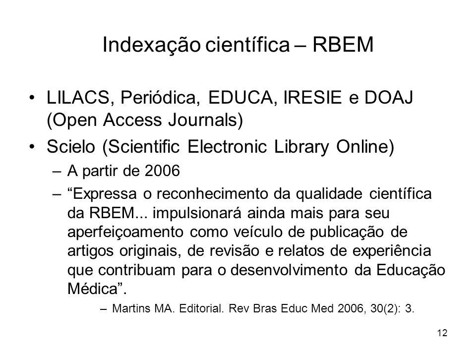 Indexação científica – RBEM