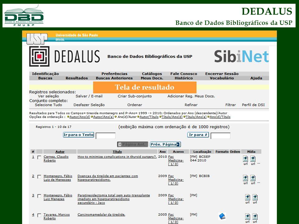 DEDALUS Banco de Dados Bibliográficos da USP Tela de resultado