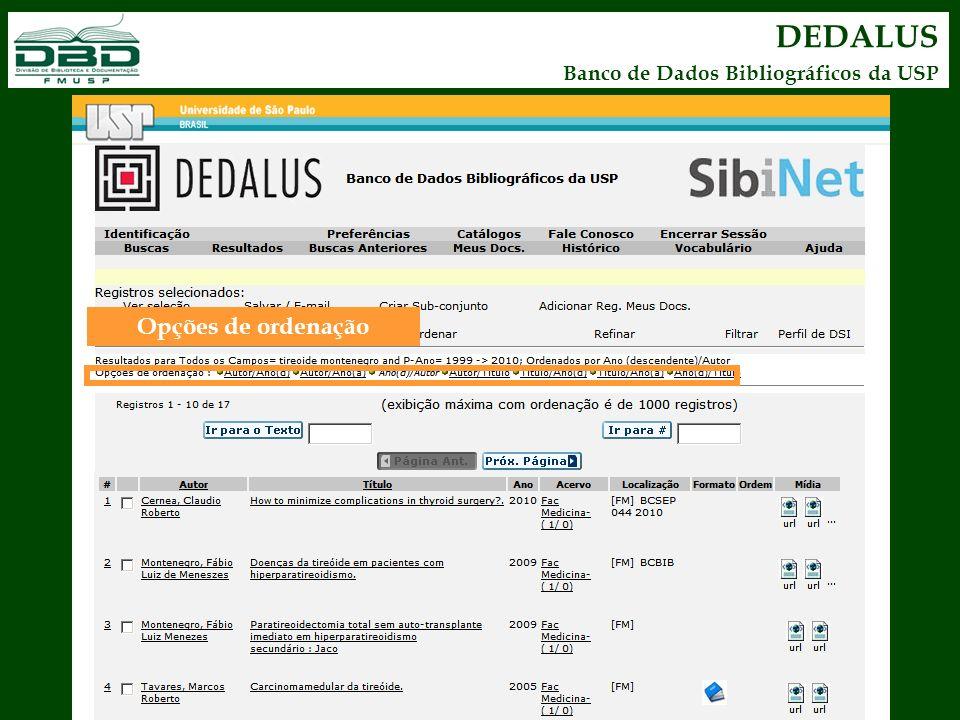 DEDALUS Banco de Dados Bibliográficos da USP Opções de ordenação