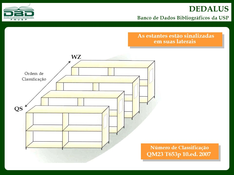 DEDALUS As estantes estão sinalizadas em suas laterais WZ QS