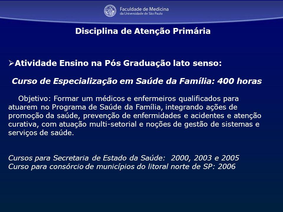 Curso de Especialização em Saúde da Família: 400 horas
