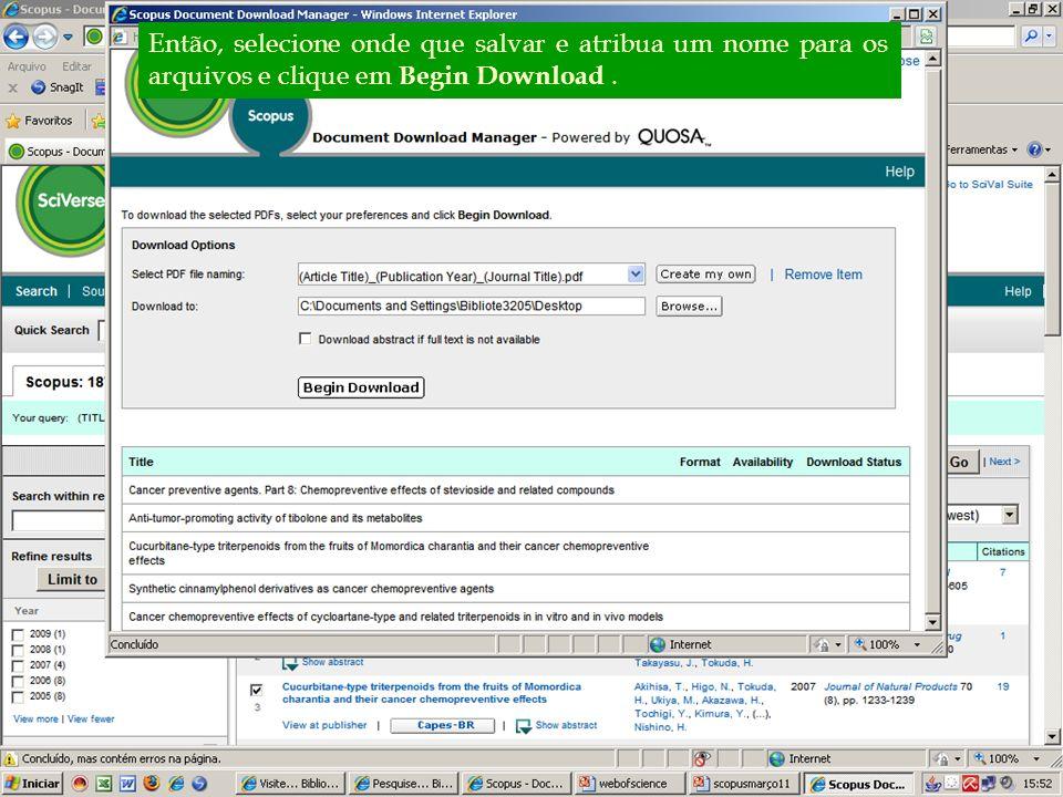 Então, selecione onde que salvar e atribua um nome para os arquivos e clique em Begin Download .